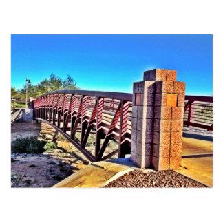 Crossing Urban Bridge Under Vibrant Blue Sky Postcard