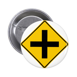 Crossroad Intersection Highway Sign 6 Cm Round Badge