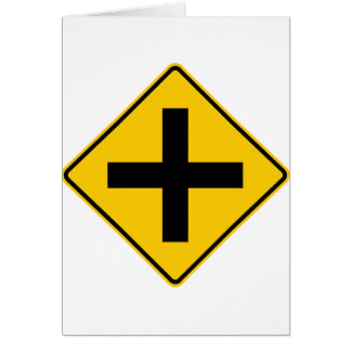 Crossroad Intersection Highway Sign Greeting Cards