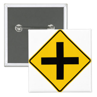 Crossroad Intersection Highway Sign Pinback Button