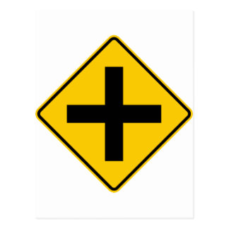 Crossroad Intersection Highway Sign Postcard