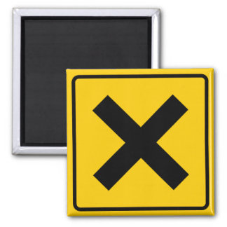 Crossroad Intersection Highway Sign Square Magnet