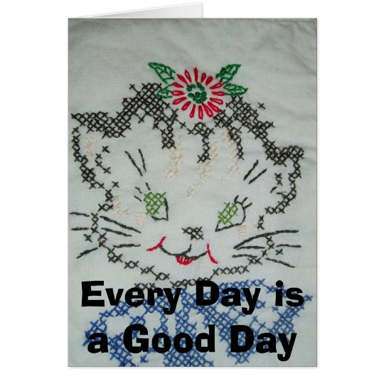 Crosstitch Kitten Card