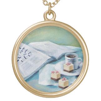 Crossword & Coffee Charm Necklace