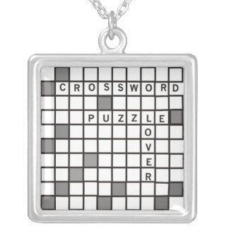Crossword Puzzle Lover Silver Plated Necklace