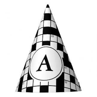 Crossword Puzzle Monogram Party Hat