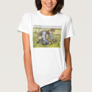 Crouching boy with sickle t-shirts