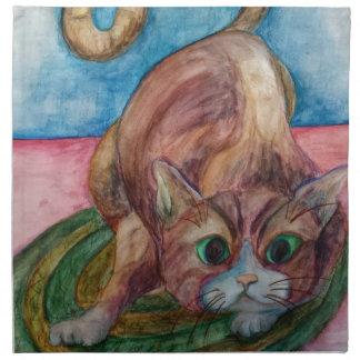 crouching cat napkin