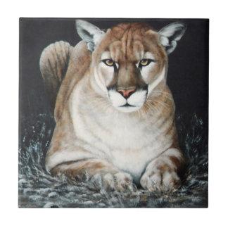 Crouching Cougar Ceramic Tile