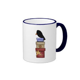 Crow And Gift Boxes Ringer Mug