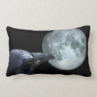 Crow and Moon Raven Night Gothic Fantasy Stunning Lumbar Cushion