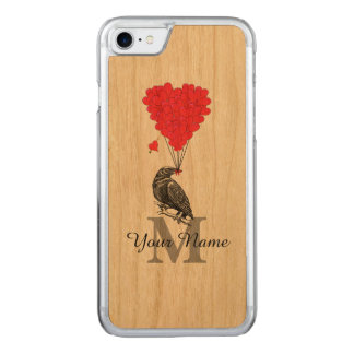 Crow and red heart monogram carved iPhone 8/7 case