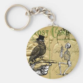 Crow and skeleton basic round button key ring