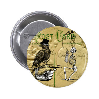 Crow and skeleton button