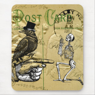 Crow and skeleton mousepads