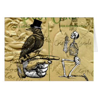 Crow and skeleton note card