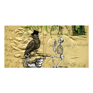 Crow and skeleton personalized photo card