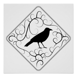 Crow and Swirls Pattern Black and White Posters