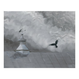 Crow and Weather Vane Poster
