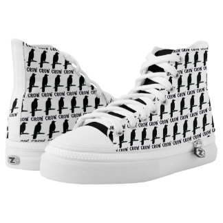 Crow Bird High Top Zip Shoes Printed Shoes