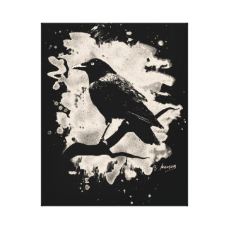Crow bleached look canvas print