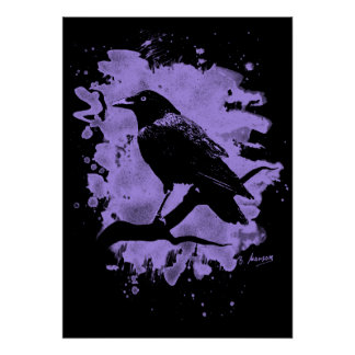 Crow bleached violet poster