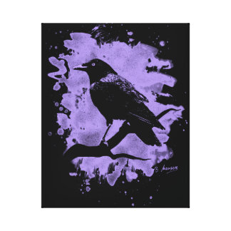 Crow bleached violet stretched canvas prints