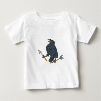 Crow Clutching Broken Arrow Drawing Baby T-Shirt