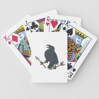 Crow Clutching Broken Arrow Drawing Bicycle Playing Cards