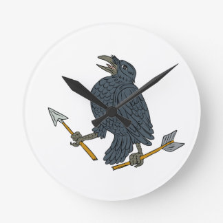 Crow Clutching Broken Arrow Drawing Clocks