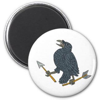 Crow Clutching Broken Arrow Drawing Magnet