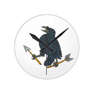 Crow Clutching Broken Arrow Drawing Round Clock