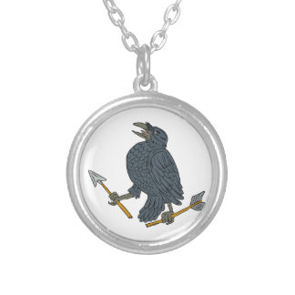 Crow Clutching Broken Arrow Drawing Silver Plated Necklace