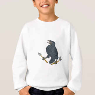 Crow Clutching Broken Arrow Drawing Sweatshirt