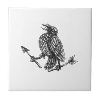 Crow Clutching Broken Arrow Tattoo Ceramic Tile