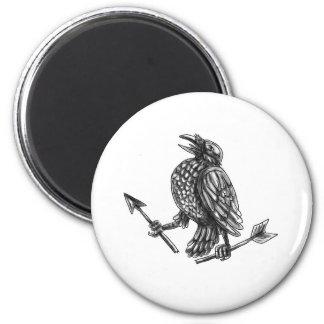 Crow Clutching Broken Arrow Tattoo Magnet