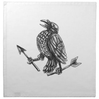 Crow Clutching Broken Arrow Tattoo Napkin