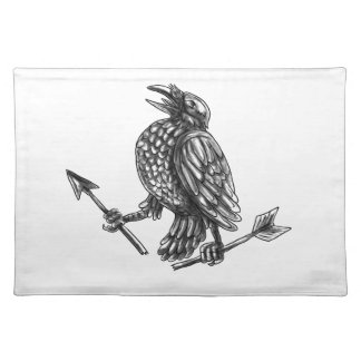 Crow Clutching Broken Arrow Tattoo Placemat