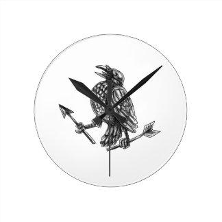 Crow Clutching Broken Arrow Tattoo Round Clock