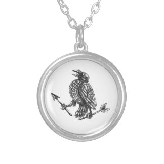 Crow Clutching Broken Arrow Tattoo Silver Plated Necklace