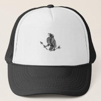 Crow Clutching Broken Arrow Tattoo Trucker Hat