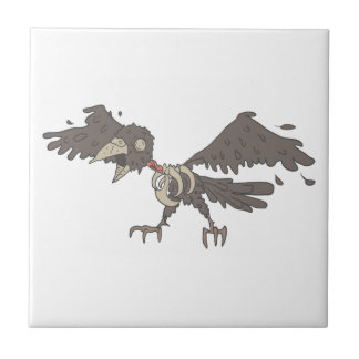 Crow Creepy Zombie With Rotting Flesh Outlined Ceramic Tile