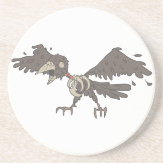 Crow Creepy Zombie With Rotting Flesh Outlined Coaster