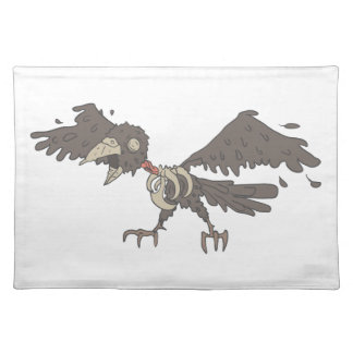 Crow Creepy Zombie With Rotting Flesh Outlined Placemat