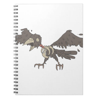 Crow Creepy Zombie With Rotting Flesh Outlined Spiral Notebook