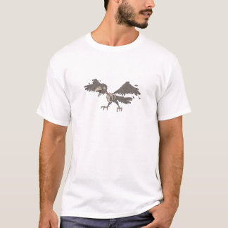 Crow Creepy Zombie With Rotting Flesh Outlined T-Shirt