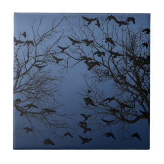 Crow flock ceramic tile