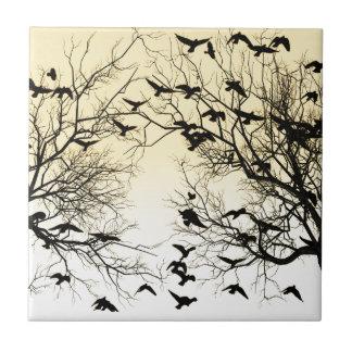 Crow flock ceramic tile