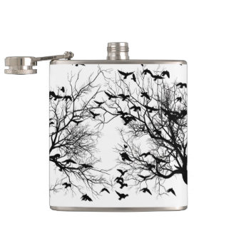 Crow flock hip flask
