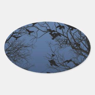 Crow flock oval sticker